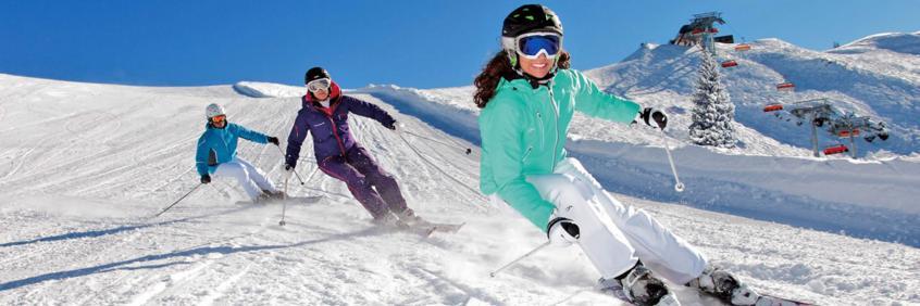 Three skiers enjoying a ride in Les Portes du Soleil