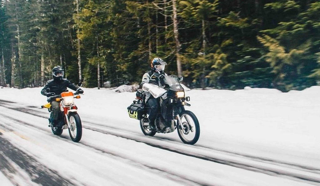 Motorcycles on snowy road