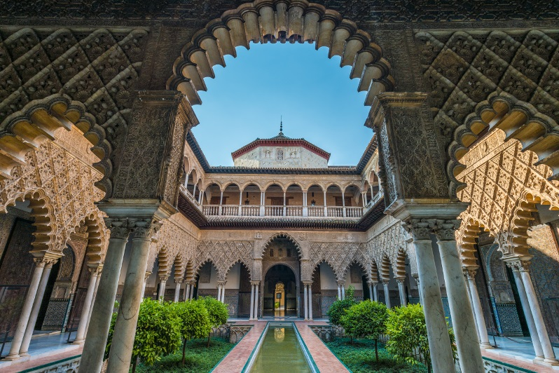Arabic influence in architecture in El Alcazar, Seville